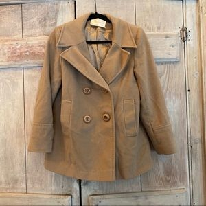 Fleurette Pea Coat Loro Piana Wool Tan Siz…